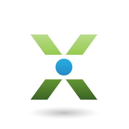 Illustration of a Green Icon of Letter X with a Circle isolated on a White Background