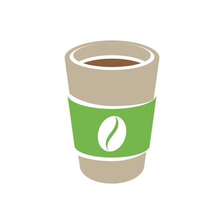 Illustration of Brown and Green Paper Coffee or Tea Cup Icon isolated on a White Background