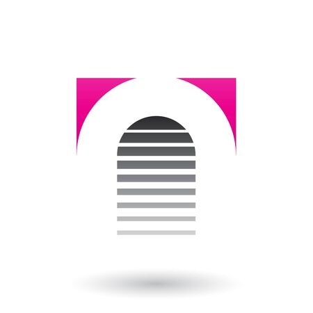 Illustration of Magenta and Black Reversed U Icon for Letter A isolated on a White Background