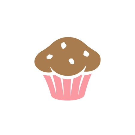 Illustration of Brown and Pink Muffin Icon isolated on a White Background