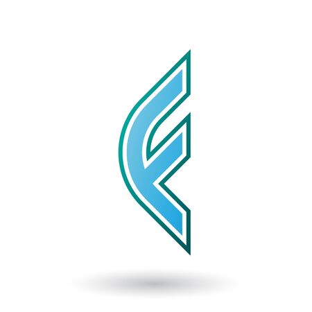 Illustration of a Blue Letter F Icon with Round Corners and Outer Stripes isolated on a White Background