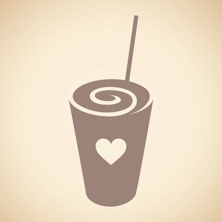 Illustration of Brown Swirly Milkshake with a Heart Icon isolated on a Beige Background