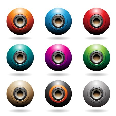 Illustration of Colorful Embossed Sphere Loudspeaker Icons isolated on a white background