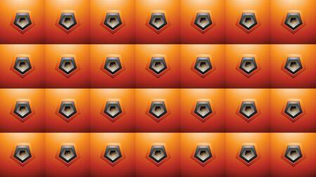 Illustration of Embossed Pentagon Shapes on Orange Squares Background Stockfoto - 129971773