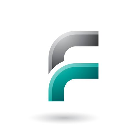 Illustration of a Black and Green Letter F with Round Corners isolated on a White Background