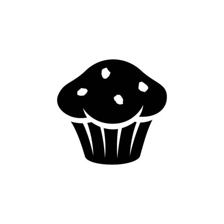 Illustration of Black Muffin Icon isolated on a White Background Imagens