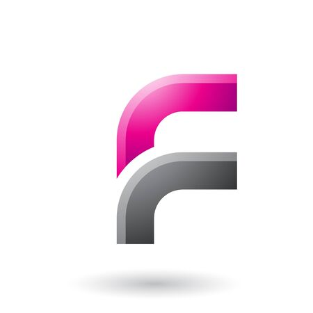 Illustration of a Magenta and Black Letter F with Round Corners isolated on a White Background Stok Fotoğraf