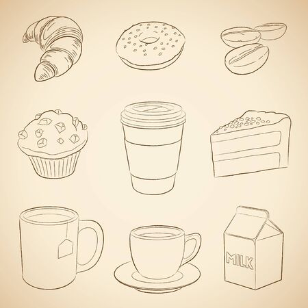 Illustration of Coffee and Breakfast Icons on a Beige Background