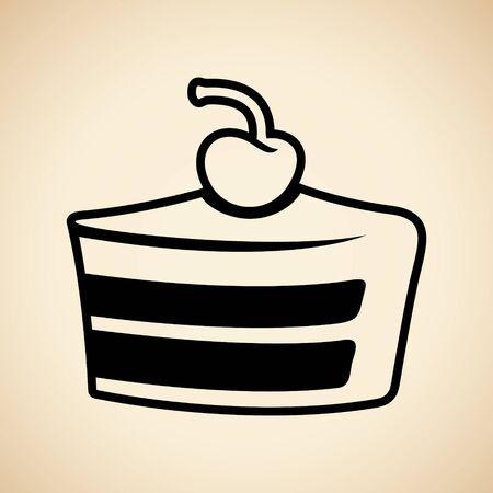 Illustration of Black Cake Icon isolated on a Beige Background