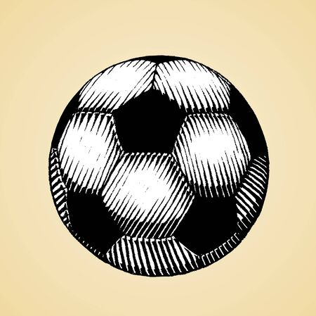 Illustration of a Scratchboard Style Ink Drawing of a Soccer and Football Ball with White Fill 版權商用圖片