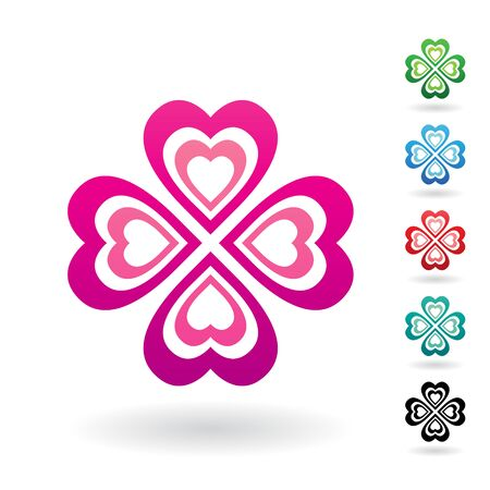Illustration of Abstract Heart Shaped Four Leaf Clover isolated on a white background 写真素材 - 129972276