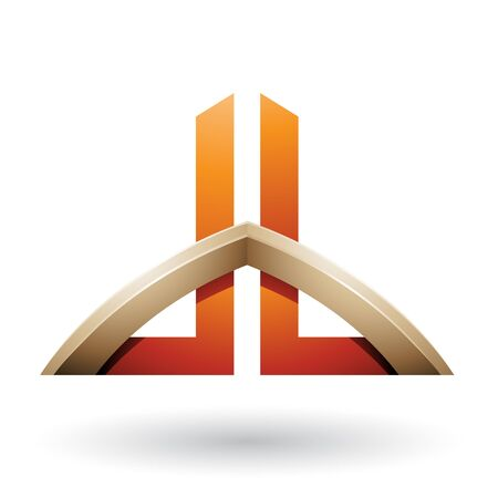 Illustration of Beige and Orange Bridged Skyscraper-like Letters of D and B isolated on a White Background