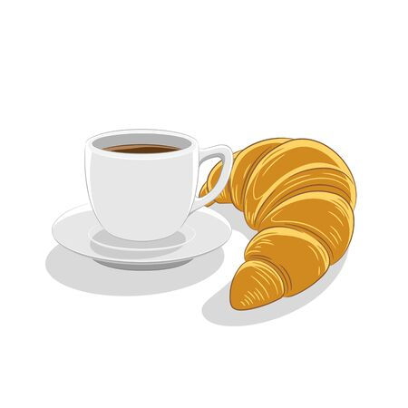 Illustration of Coffee Cup and Croissant Breakfast isolated on a white background