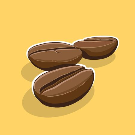 Illustration of Coffee Beans Icon on a Yellow Background 版權商用圖片