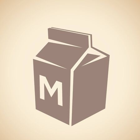 Illustration of Brown Milk Icon isolated on a Beige Background