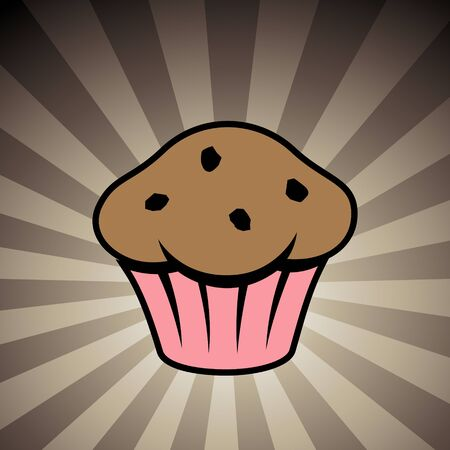 Vector Illustration of Muffin Icon on a Brown Striped Background