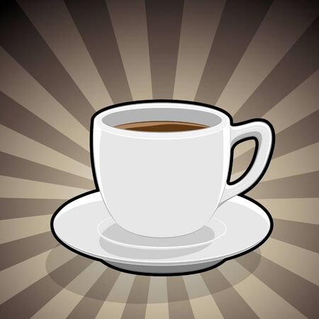 Vector Illustration of Coffee Cup Illustration on a Brown Striped Background