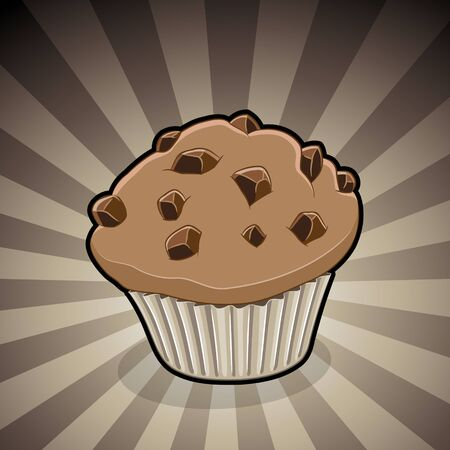 Vector Illustration of Muffin Illustration on a Brown Striped Background