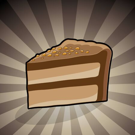 Vector Illustration of Cake Illustration on a Brown Striped Background