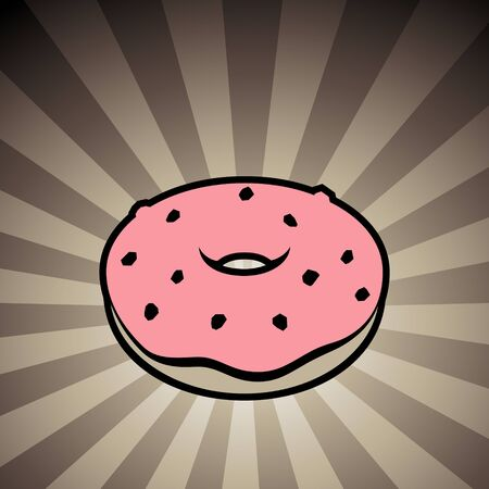 Vector Illustration of Doughnut Icon on a Brown Striped Background Stock Photo