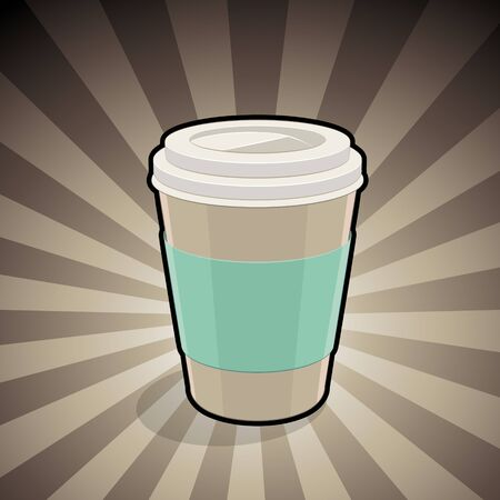 Vector Illustration of Take-Away Coffee Cup Illustration on a Brown Striped Background