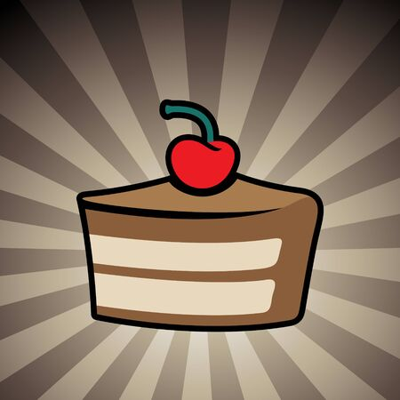 Vector Illustration of Colorful Cake Icon on a Brown Striped Background Stockfoto
