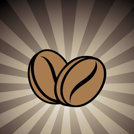 Vector Illustration of Coffee Beans Icon on a Brown Striped Background Stockfoto