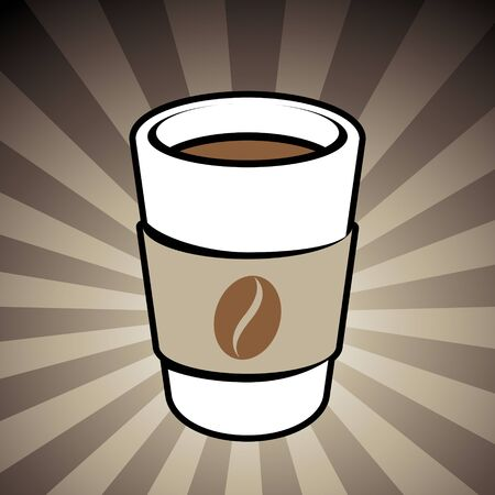 Vector Illustration of Coffee or Tea Take-Away Cup Icon on a Brown Striped Background Stockfoto