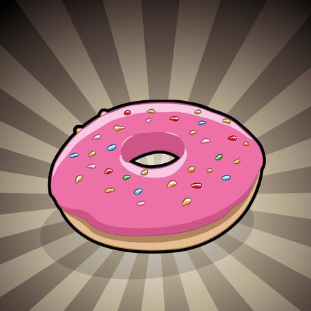 Vector Illustration of Doughnut Illustration on a Brown Striped Background