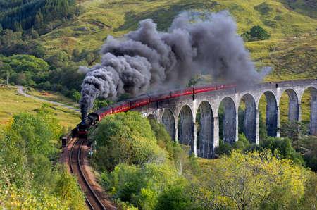 The Jacobite train Glenfinnan viaduct Highlands Scotland UK photo