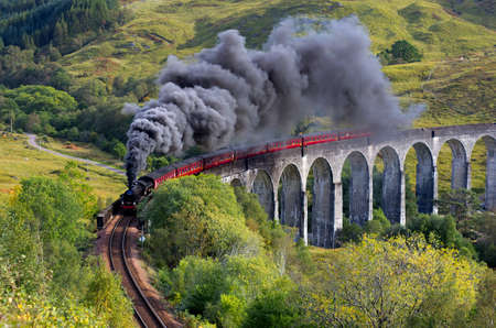 viaduct: The Jacobite train Glenfinnan viaduct Highlands Scotland UK Stock Photo