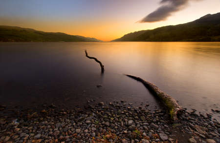 loch ness: Loch Ness sunrise Highlands Scotland Stock Photo