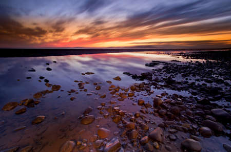 cumbria: Allonby Bay sunset, Solway Firth Cumbria UK Stock Photo