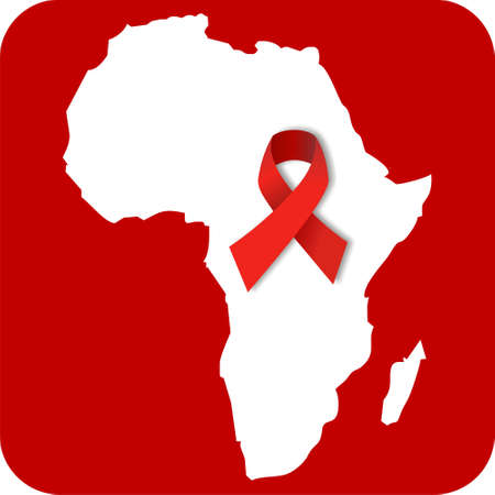 aids: The african continent with a red ribbon over a red rounded square. available