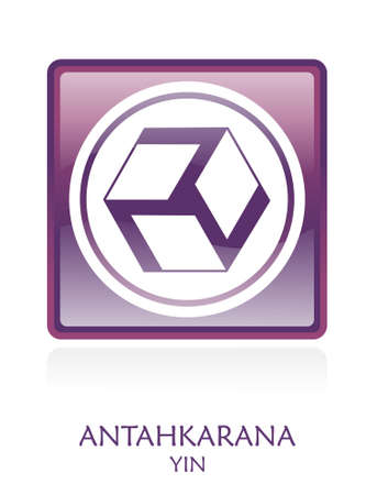 Antahkarana YIN icon Symbol in a violet rounded square. file available. Stock Photo - 4763483