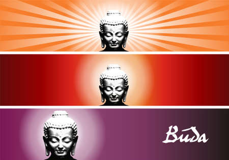 smiling buddha: Buddha colorful banners. file available.