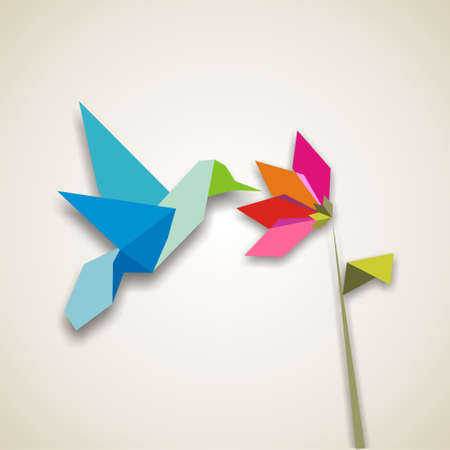 origami oiseau: Origami couleurs pastel colibri. Vector fichier.