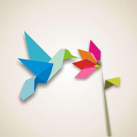 origami bird: Origami pastel colors hummingbird. file available.