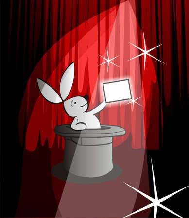 Illustration of a white rabbit going out of a black top hat showing a white banner to advise a text. format available. illustration