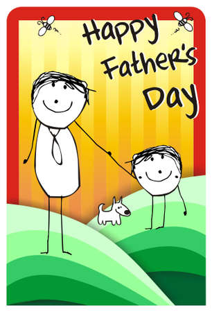 writting: Colorfull hand writting illustration of a father, his son and their dog. format available Stock Photo