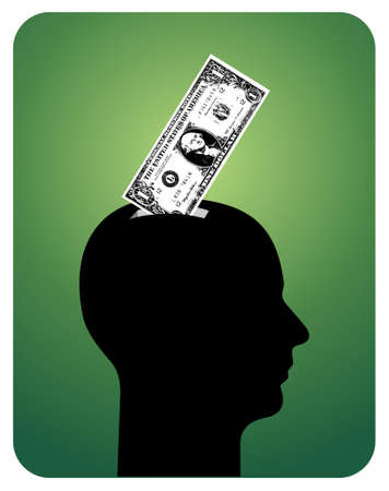 investors: Human head with a one-dollar bill into the upper. available