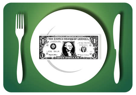 One-dollar bill for served for a meal. available photo