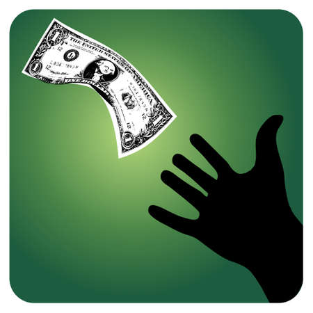 drain fly: One-dollar bill flying away from a hand. available