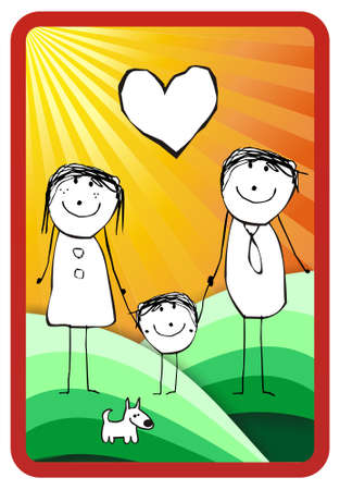 three colors: hand writting illustration of a happy family of three and their dog. format available