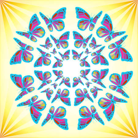 Colorfull mandala made of butterflies over a shiny yellow background. available photo