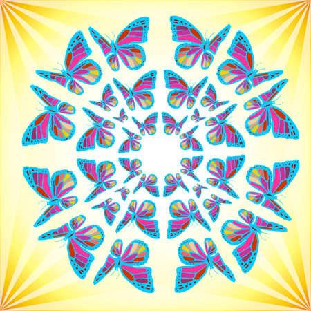 universal love: Mandala colorido de las mariposas en un fondo amarillo brillante. Vector disponible