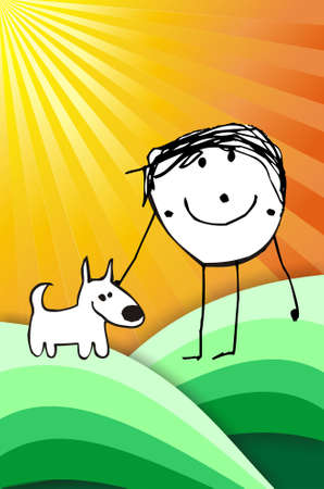 hand writting illustration of a happy kid playing with his dog. format available Stock Illustration - 4763527