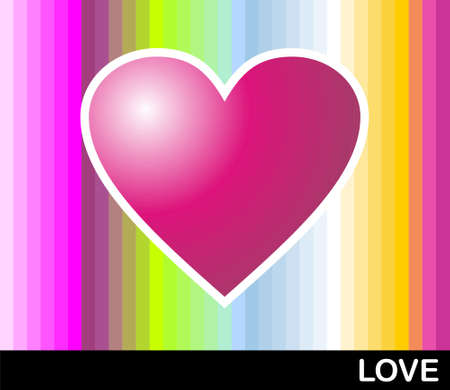 the banded: Bright pink heart with colored banded background. format available