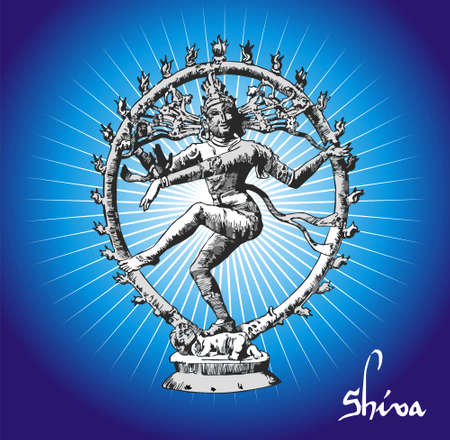 ial Illustration of Shiva deity. illustration