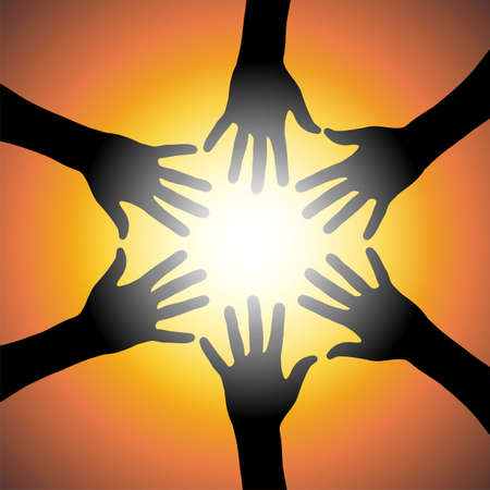 charity person: Black hands illustration over a orange background